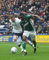 Josh Clarke of Brentford (R) and Tom Barkhuizen of Preston North End in action - Mandatory by-line: Jack Phillips/JMP - 28/10/2017 - FOOTBALL - Deepdale - Preston, England - Preston North End v Brentford - Football League Championship
