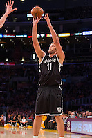 20 November 2012: Center (11) Brook Lopez of the Brooklyn Nets shoots the ball against the Los Angeles Lakers during the first half of the Lakers 95-90 victory over the Nets at the STAPLES Center in Los Angeles, CA.