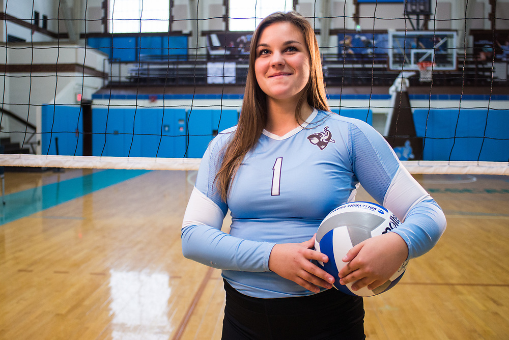 08/05/2017 - Medford/Somerville, MA - Rising sophomore libero/defensive specialist Kelly Klimo poses for a portrait in Cousens Gym on May 8, 2017. (Ray Bernoff / The Tufts Daily)