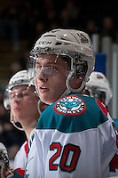 KELOWNA, CANADA -FEBRUARY 5: Austin Glover #20 of the Kelowna Rockets stands on the bench against the Red Deer Rebels on February 5, 2014 at Prospera Place in Kelowna, British Columbia, Canada.   (Photo by Marissa Baecker/Getty Images)  *** Local Caption *** Austin Glover;