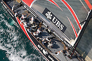 SPAIN, Valencia, April 6 2007,Louis Vuitton Act 13, Race 4, Alinghi SUI 91 shortly after the start of Race 4