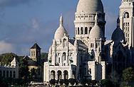 France. Paris. elevated view on the Sacre Coeur. sacre coeur .st pierre de montmartre church and Paris view from Saint Paul's  Saint Vincent. church 75009