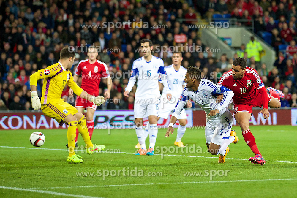 13.10.2014, City Stadium, Cardiff, WAL, UEFA Euro Qualifikation, Wales vs Zypern, Gruppe B, im Bild The ball flies past Cyprus' goalkeeper Tasos Kissas as David Cotterill (not in frame) scores the opening goal against Cyprus // 15054000 during the UEFA EURO 2016 Qualifier group B match between Wales and Cyprus at the City Stadium in Cardiff, Wales on 2014/10/13. EXPA Pictures &copy; 2014, PhotoCredit: EXPA/ Propagandaphoto/ David Rawcliffe<br /> <br /> *****ATTENTION - OUT of ENG, GBR*****