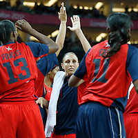 09 August 2012: USA Dina Taurasi celebrates with her teammates during 86-73 Team USA victory over Team Australia, during the women's basketball quarter-finals, at the 02 Arena, in London, Great Britain.