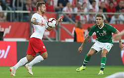 September 11, 2018 - Warsaw, Poland - Karol Linetty of Poland vies Jeff Hendrick of Ireland during the international friendly match between Poland and Republic of Ireland at the Stadion Miejski on September 11, 2018 in Wroclaw, Poland. (Credit Image: © Foto Olimpik/NurPhoto/ZUMA Press)