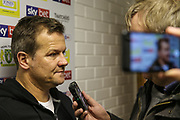 Forest Green Rovers manager, Mark Cooper being interviewed pre-match during the EFL Sky Bet League 2 match between Yeovil Town and Forest Green Rovers at Huish Park, Yeovil, England on 8 December 2018.