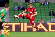 MELBOURNE, AUSTRALIA - APRIL 13: Adelaide United defender Scott Galloway (3) makes an attempt to keep the ball in play during round 25 of the Hyundai A-League soccer match between Melbourne City FC and Adelaide United on April 13, 2019 at AAMI Park in Melbourne, Australia. (Photo by Speed Media/Icon Sportswire)