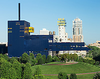 Minneapolis, USA - July 21, 2014: Guthrie Theatre in Minneapolis with its famous cantilevered bridge.  The Guthrie Theater, founded in 1963, is a center for theater performance, production, education, and professional training in Minneapolis, Minnesota. It is the result of the desire of Sir Tyrone Guthrie, Oliver Rea, and Peter Zeisler to create a resident acting company that would produce and perform the classics in an atmosphere removed from the commercial pressures of Broadway.<br /> The Guthrie Theater has performed in two main-stage facilities. The first building was designed by Ralph Rapson, included a 1,441-seat thrust stage designed by Tanya Moiseiwitsch, and was operated from 1963–2006. After closing its 2005–2006 season, the theater moved to its current facility designed by Jean Nouvel. Guthrie theatre in Minneapolis, Minnesota.