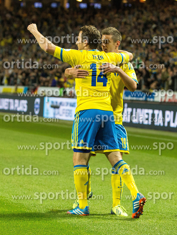 15.10.2013, Friends Arena, Stockholm, SWE, FIFA WM Qualifikation, Schweden vs Deutschland, Gruppe C, im Bild Sverige 14 Tobias Hys©n Hysen score 1-0,, , Nyckelord , Keywords : football , fotboll , soccer , FIFA , World Cup , Qualification , Sweden , Sverige , Schweden , Germany , Tyskland , Deutschland jubel jublande glad gl©dje lycka happy happiness celebration celebrates // during the FIFA World Cup Qualifier Group C Match between Sweden and Germany at the Friends Arena, Stockholm, Sweden on 2013/10/15. EXPA Pictures © 2013, PhotoCredit: EXPA/ PicAgency Skycam/ Ted Malm<br /> <br /> ***** ATTENTION - OUT OF SWE *****