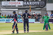 Alex Hales of England gets to 50, during the One Day International match between England and Ireland at the Brightside County Ground, Bristol, United Kingdom on 5 May 2017. Photo by Andrew Lewis.