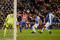 Atletico de Madrid's player Juanfran Torres and RCD Espanyol player Diego Lopez, Pablo Piatti and Diego Reyes during match of La Liga between Atletico de Madrid and RCD Espanyol at Vicente Calderon Stadium in Madrid, Spain. December 03, 2016. (ALTERPHOTOS/BorjaB.Hojas)