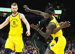 April 25, 2018 - Cleveland, OH, USA - The Indiana Pacers' Lance Stephenson, right, gets tangled up with the Cleveland Cavaliers' Jeff Green as Indiana center Domantas Sabonis looks on in the second quarter of Game 5 in a first-round playoff series on Wednesday, April 25, 2018, at Quicken Loans Arena in Cleveland. (Credit Image: © Leah Klafczynski/TNS via ZUMA Wire)