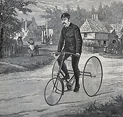 The Cripper tricycle introduced in 1887. Engraving 1887.