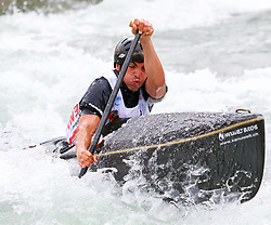 27.06.2015, Verbund Wasserarena, Wien, AUT, ICF, Kanu Wildwasser Weltmeisterschaft 2015, C1 men, im Bild Fabio Gretener (SUI) // during the final run in the men's C1 class of the ICF Wildwater Canoeing Sprint World Championships at the Verbund Wasserarena in Wien, Austria on 2015/06/27. EXPA Pictures © 2014, PhotoCredit: EXPA/ Sebastian Pucher