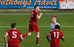 BIRKENHEAD, ENGLAND - Wednesday, December 6, 2017: Liverpool's George Johnston celebrates scoring the second goal during the UEFA Youth League Group E match between Liverpool FC and FC Spartak Moscow at Prenton Park. (Pic by David Rawcliffe/Propaganda)