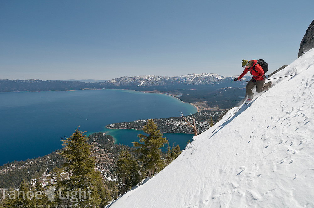 Paige Brady telemark skiing Jakes and Maggies peak above Emerald Bay and Lake Tahoe