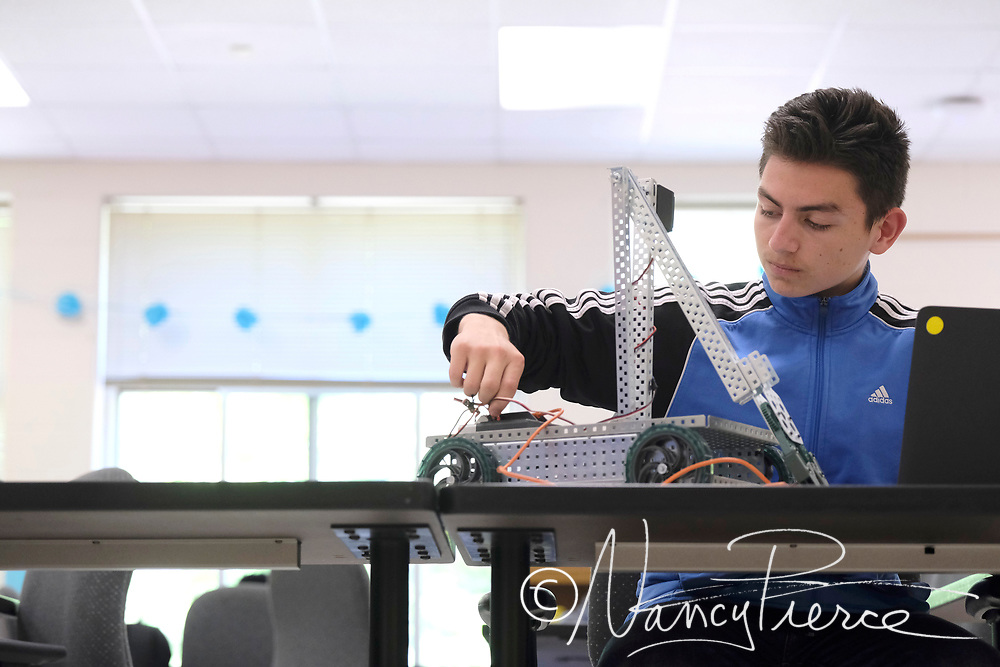 This is a Automation & Robotics class at Mountain Island Lake Academy (middle school) The teacher (not shown) is Heather Gibson.