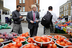 London Mayor Boris Johnson  campaigning in Acton, West London, for his Mayorial Campaign, Saturday March 31, 2012. Photo By Andrew Parsons/I-images