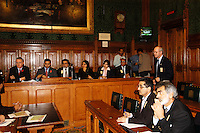 LONDON 9 Nov. 2005...Department for International Development spokeman (right of picture) gives latest figures on earthquake relief from the UK....The Justice Foundation Kashmir Centre London together with the All-Party Parliamentary Group (APPG) on Kashmir organised a meeting in the House of Commons entitled ?Kashmir After the Earthquake ? Rebuilding Together.