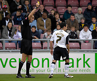 Photo: Daniel Hambury.<br />Northampton Town v Swansea City. Coca Cola League 1. 28/10/2006.<br />Swansea's Leon Britton is shown his first yellow card.