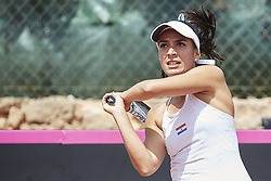April 21, 2018 - La Manga, Murcia, Spain - Veronica Cepede Royg of Paraguay in action in her match against  Carla Suarez Navarro of Spain during day one of the Fedcup World Group II Play-offs match between Spain and Paraguay at Centro de Tenis La Manga Club on April 21, 2018 in La Manga, Spain  (Credit Image: © David Aliaga/NurPhoto via ZUMA Press)