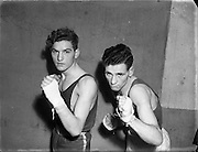 On right is S Bateman (Kilkenny) at National Junior Boxing Championships - Welterweight runner up.<br /> on Left E. McKean (Corinthians) Welterweight winner<br /> 18/12/1952