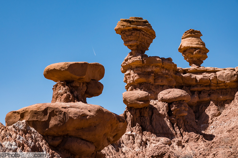 Hoodoos in Recapture Pocket, on BLM land, near Bluff, Utah, USA. The BLM (Bureau of Land Management) is part of the United States Department of the Interior.