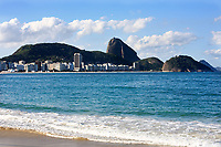 view of leme and sugar loaf from copacabana beach in rio de janeiro in brazil