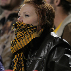 15 November 2008: A LSU fan bundled up for the cold weather during the first half of the NCAA football game between the Troy Trojans and the LSU Tigers at Tiger Stadium in Baton Rouge, LA.