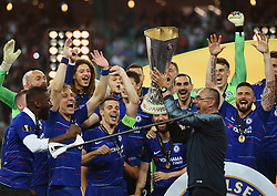 BAKU, May 30, 2019  Chelsea's manager Maurizio Sarri (R, front) and players of Chelsea celebrate with the trophy after the UEFA Europa League final match between Chelsea and Arsenal in Baku, Azerbaijan, May 29, 2019. Chelsea won 4-1. (Credit Image: © Tofik Babayev/Xinhua via ZUMA Wire)