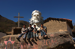 The image of Che Guevara stands for many things throughout Latin America, from a young traveler to an anti-U.S., anti-imperialist revolutionary. A giant bust  of Che Guevara in the town of  La Higuera, where he was captured and killed.  25 families now live in La Higuera which is more than 700km from La Paz and a grueling 30 hour journey over land.