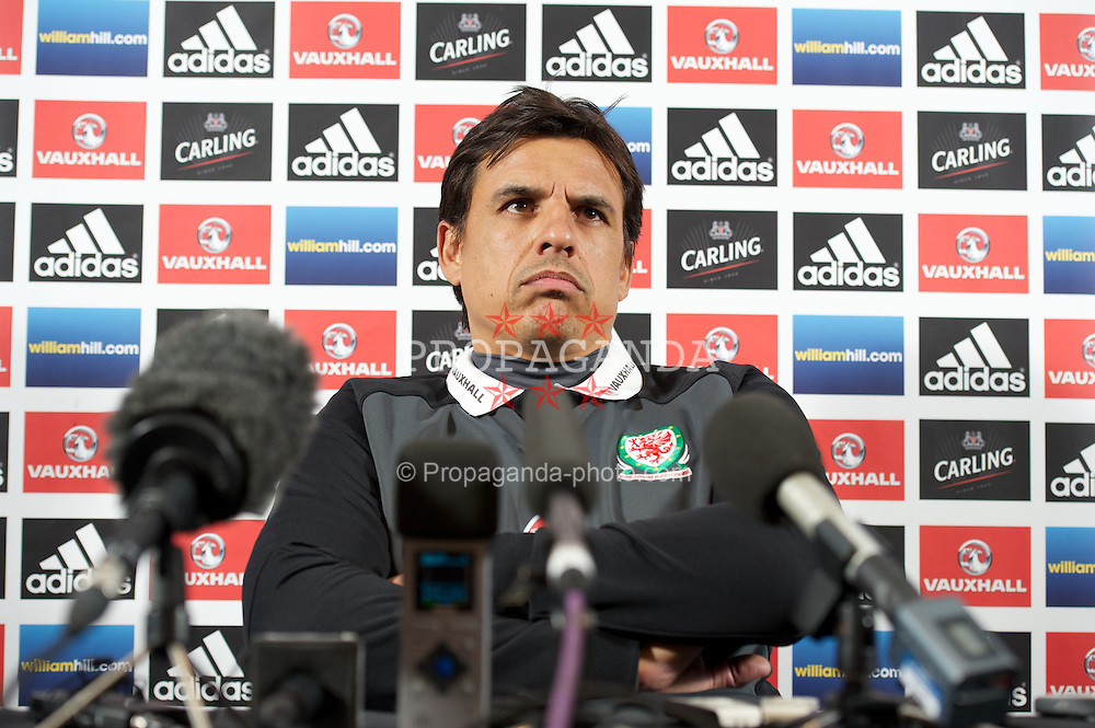 GLASGOW, SCOTLAND - Thursday, March 21, 2013: Wales' manager Chris Coleman during a press conference at Hampden Park ahead of the 2014 FIFA World Cup Brazil Qualifying Group A match against Scotland. (Pic by David Rawcliffe/Propaganda)