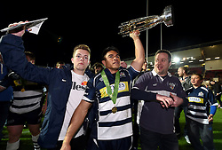 Bristol Rugby Winger David Lemi (capt) lifts the Greene King IPA Championship trophy aloft to his family - Mandatory byline: Joe Meredith/JMP - 25/05/2016 - RUGBY UNION - Ashton Gate Stadium - Bristol, England - Bristol Rugby v Doncaster Knights - Greene King IPA Championship Play Off FINAL 2nd Leg.