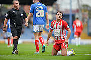 A chance goes begging for Terry Gornell during the Sky Bet League 2 match between Portsmouth and Accrington Stanley at Fratton Park, Portsmouth, England on 5 September 2015. Photo by Adam Rivers.