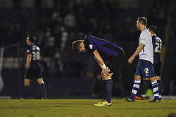Bristol Rovers' Matt Harrold cuts a dejected figure as Bristol Rovers lose away to Bury 2 - 1 - Photo mandatory by-line: Dougie Allward/JMP - Mobile: 07966 386802 01/04/2014 - SPORT - FOOTBALL - Bury - Gigg Lane - Bury v Bristol Rovers - Sky Bet League Two