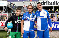 The Bristol Rovers Man of the Match in the Bristol Fan Derby is presented with a trophy - Mandatory by-line: Robbie Stephenson/JMP - 04/09/2016 - FOOTBALL - Memorial Stadium - Bristol, England - Bristol Rovers Fans v Bristol City Fans - Bristol Fan Derby