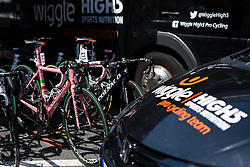 In the pink: Mara Abbott has a custom Colnago for her day in the Maglia Rosa at Giro Rosa 2016 - Stage 6. A 118.6 km road race from Andora to Alassio, Italy on July 7th 2016.