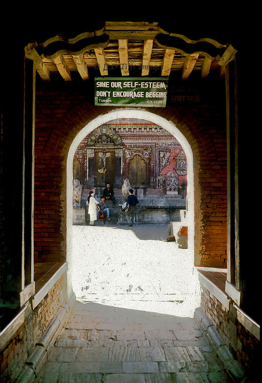 Entrance to the temple precinct of Vishnu at Changu Narayan in the Kathmandu Valley.  A temple has been on the site since the 5th century.  Changu Narayan is one of the Monument Zones designated by UNESCO as a world heritage site.