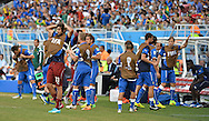 The bench of Italy react as they go out of the World Cup during the 2014 FIFA World Cup match at Arena das Dunas, Natal<br /> Picture by Stefano Gnech/Focus Images Ltd +39 333 1641678<br /> 24/06/2014