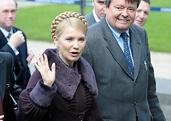 Yuliya TYMOSHENKO, Ukraine's prime minister, waves as she arrives for the European People's Party (EPP) meeting, prior to the EU summit,  Thursday, March 19, 2009, in Brussels, Belgium. (Photo © Jock Fistick)