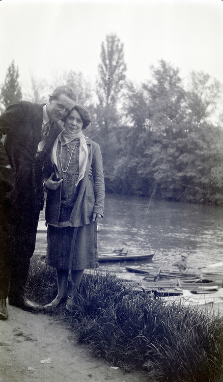 young adult man posing with a girlfriend 1920s