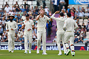 (Caption Correction) Wicket - Stuart Broad of England celebrates taking the wicket of KL Rahul of India during day two of the fourth SpecSavers International Test Match 2018 match between England and India at the Ageas Bowl, Southampton, United Kingdom on 31 August 2018.