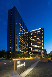 Axel Springer publishing house headquarters in Berlin at night Germany