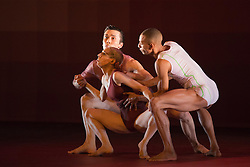 "© Licensed to London News Pictures. 09/10/2013. London, England. L-R: Daniela Neugebauer, Michael-John Harper and James Pett. World Premiere of ""Atomos"" by Sadler's Wells Associate Artist Wayne McGregor/Random Dance at Sadler's Wells Theatre, London, from 9-12 October 2013. Photo credit: Bettina Strenske/LNP"
