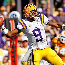 Oct 2, 2010; Baton Rouge, LA, USA; LSU Tigers quarterback Jordan Jefferson (9) passes the ball against the Tennessee Volunteers during the first half at Tiger Stadium.  Mandatory Credit: Derick E. Hingle