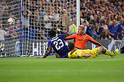 Chelsea striker Michy Batshuayi (23) thinking he had scored during the EFL Cup match between Chelsea and Bristol Rovers at Stamford Bridge, London, England on 23 August 2016. Photo by Matthew Redman.