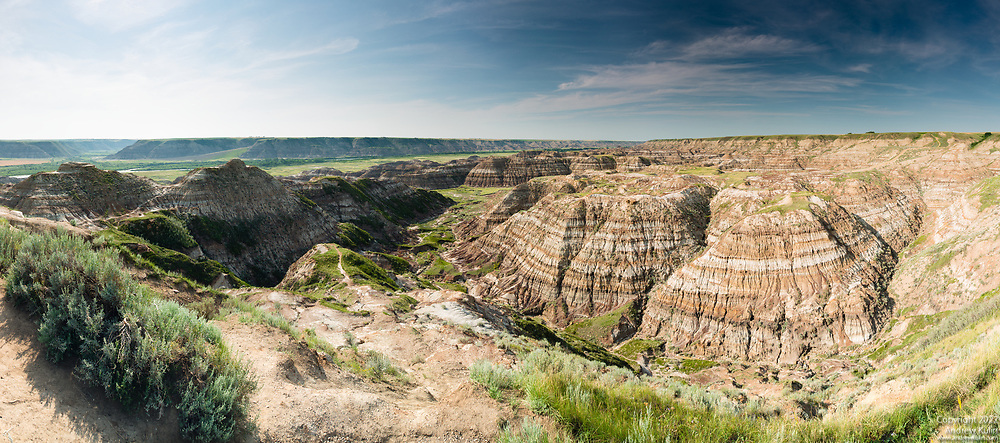 Panorama of Horsethief Canyon located west of Drumheller, Alberta.