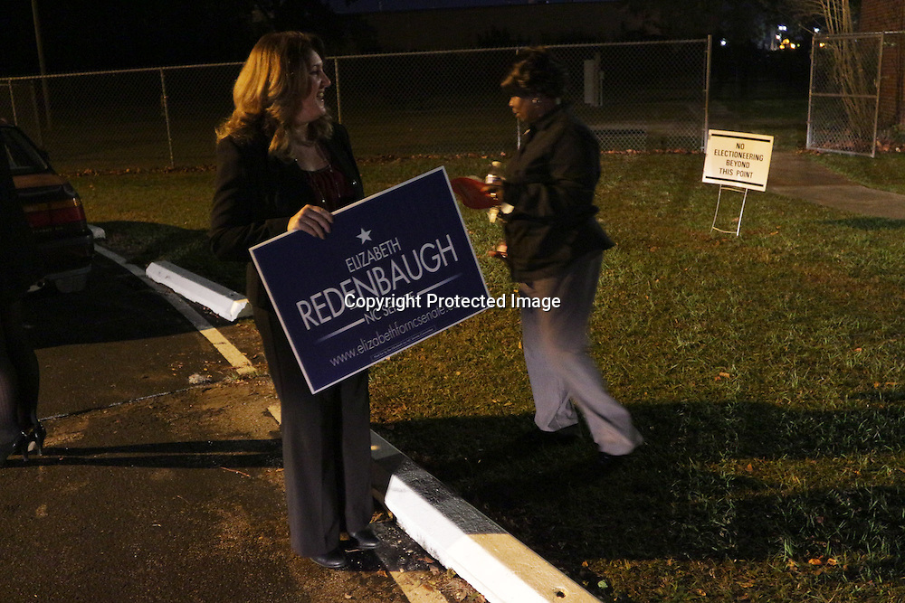 Elizabeth Redenbaugh, candidate for NC Senate District 9, speaks to voters outside of Mosley Performance Learning Center Tuesday November 4, 2014 in Wilmington, N.C. (Jason A. Frizzelle)