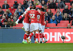Bristol City's Aden Flint celebrates with team. - Photo mandatory by-line: Alex James/JMP - Mobile: 07966 386802 - 22/03/2015 - SPORT - Football - London - Wembley Stadium - Bristol City v Walsall - Johnstone Paint Trophy Final