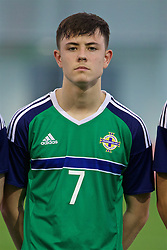 EDINBURGH, SCOTLAND - Sunday, October 30, 2016: Northern Ireland's Callum Ferris lines-up against Scotland before the opening match of the Under-16 2016 Victory Shield at ORIAM. (Pic by David Rawcliffe/Propaganda)